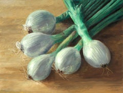 Spring Onions, oil on canvas, food, realistic