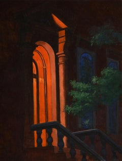 Night Doorway, dark, mysterious urban architectural oil painting