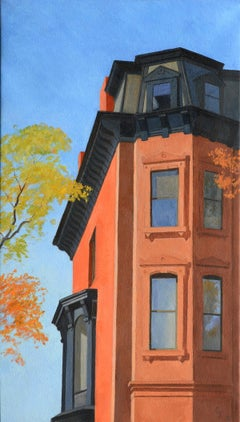 Mansard Window, realistic historic urban architecture, Brookyn cityscape, brick