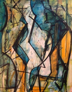 Shape Mapping, linear abstract acrylic on canvas, orange tones