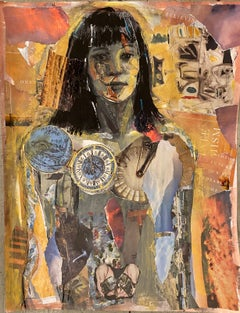 Continuum whimsical collage female figure, ochre tones time theme, clocks, hands