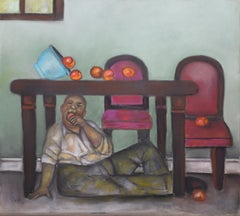 Still Life Disruptor, colorful pastel on archival paper, man under table w apple