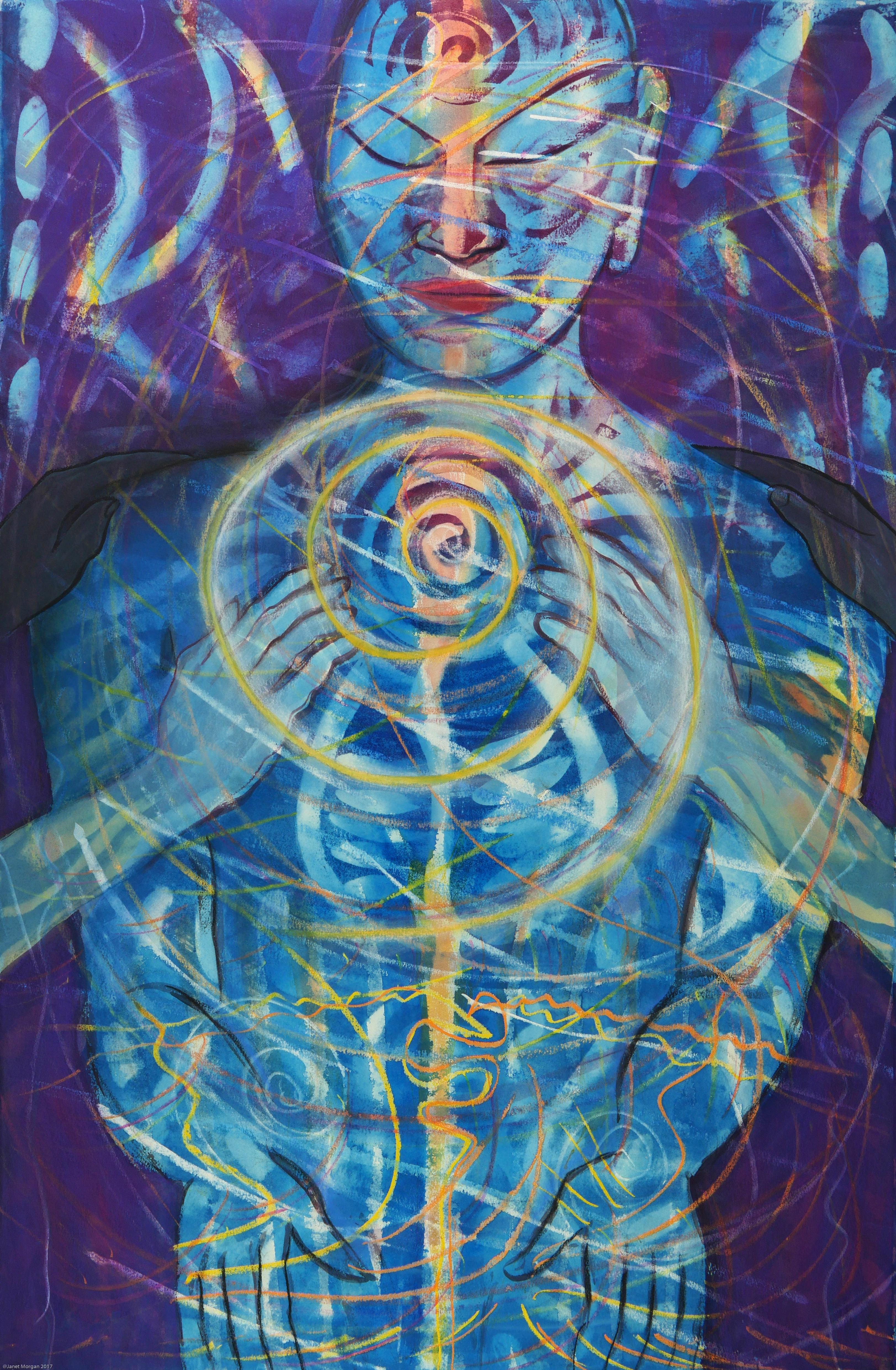 Help From Friends, colorful blues, purples, spiritual figure abstract watercolor