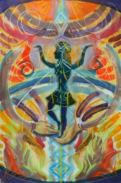 In Good Hands, swirling colorful spiritual abstracted goddess figure