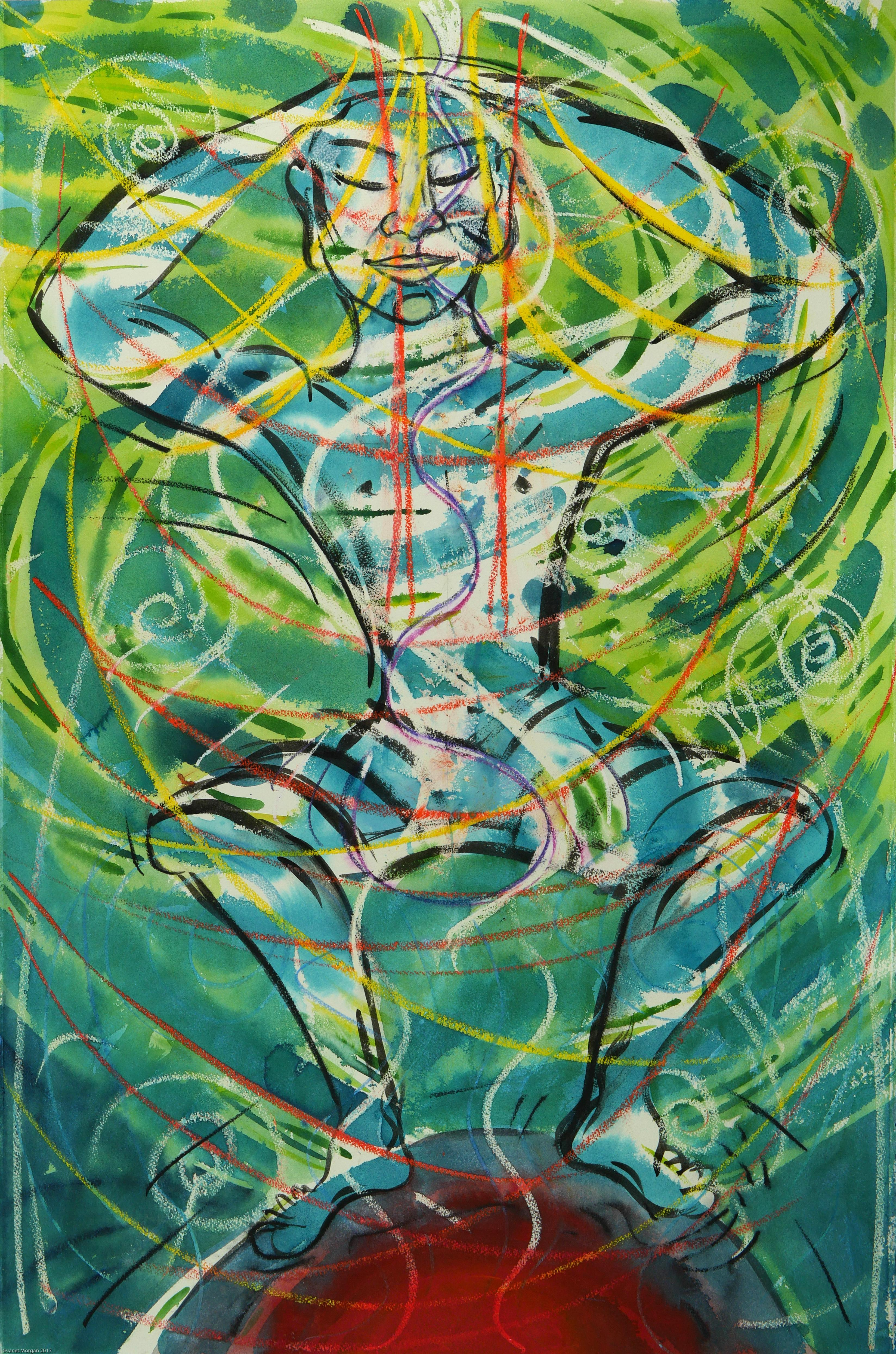 On Top of the World figurative, green colorful spiritual