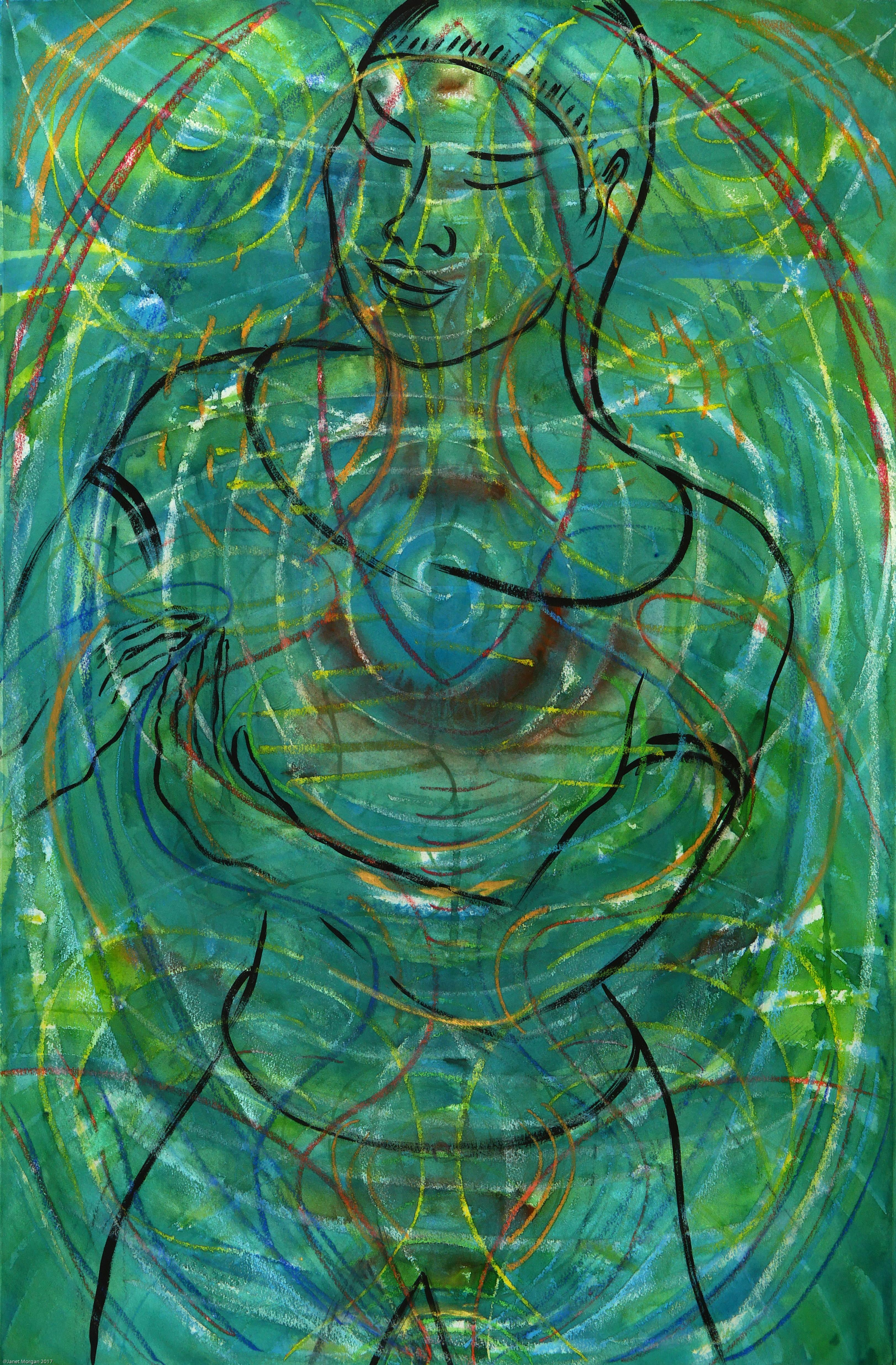 Stringer, colorful green figurative abstraction