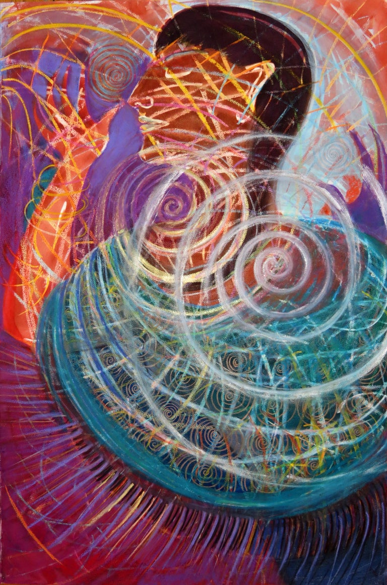 Janet Morgan Nude Painting - Sweet Energy, colorful red swirling abstract mystical mixed media