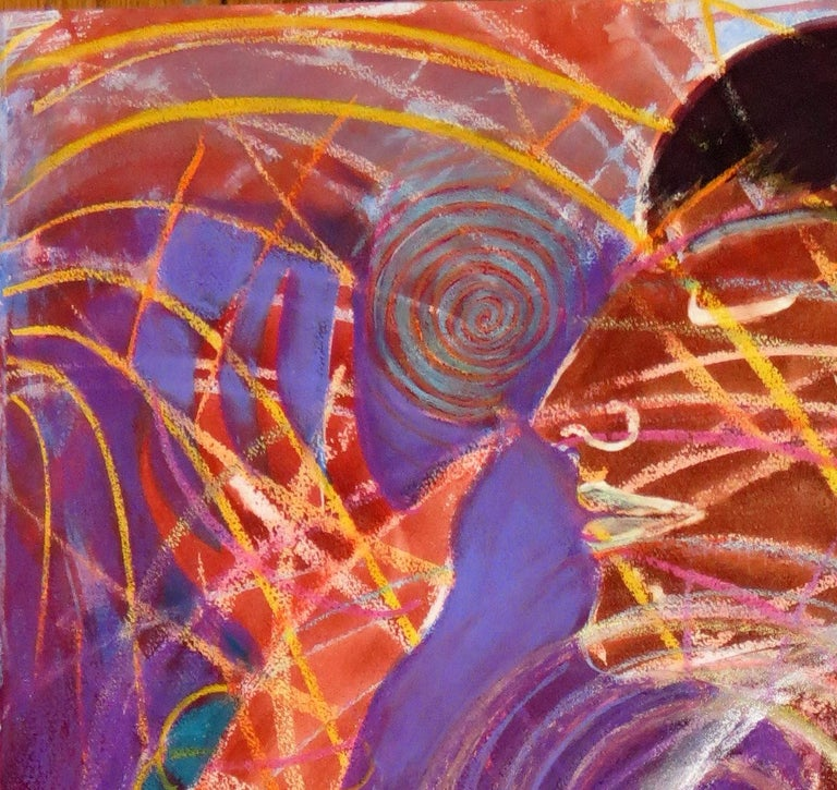 Sweet Energy, colorful red swirling abstract mystical mixed media - Painting by Janet Morgan