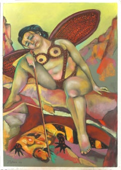 Desert Angel  myths and legends strong color nude in nature abstract figurative