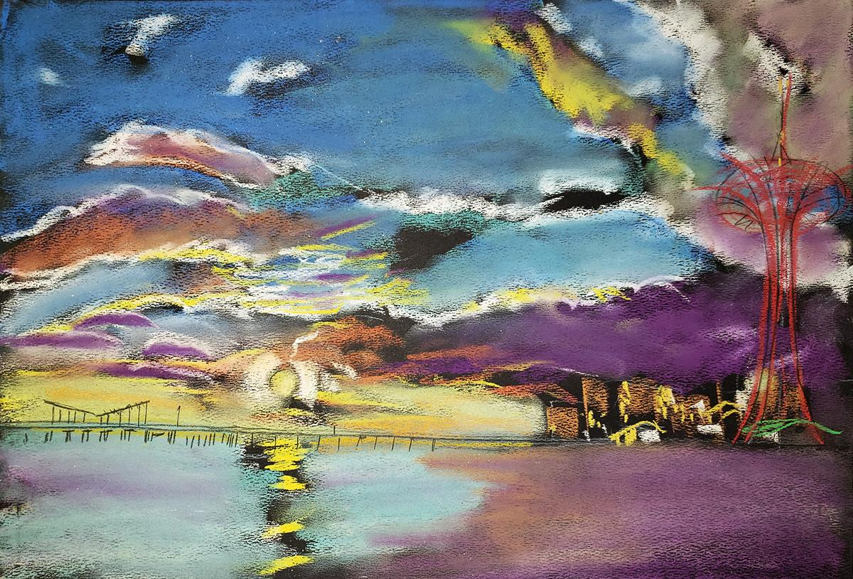 Cloudy Sunset, Coney Island, wildly colorful abstract sky, water, beach