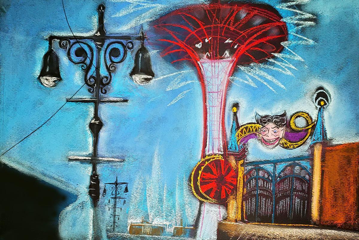 Lights, Parachute Jump and Smile, Coney Island, colorful historic amusement park