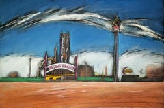 Thunderbolt, Coney Island, colorful pastel with historic amusement park