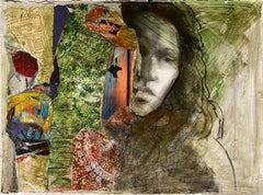 Jewels, abstract collage, colorful black female figure gesture green earth tones