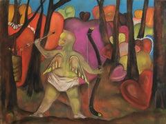 Cupid's Last Stand   bold color valentine theme dark humor hearts and cherubs