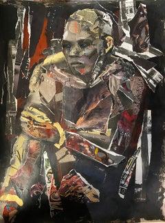 Neutrality, collage male female figure, dark colors