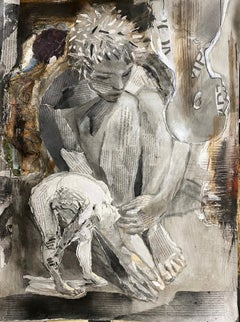 Flawed Characters, monochromatic collage neutral greys text, newspaper, figure