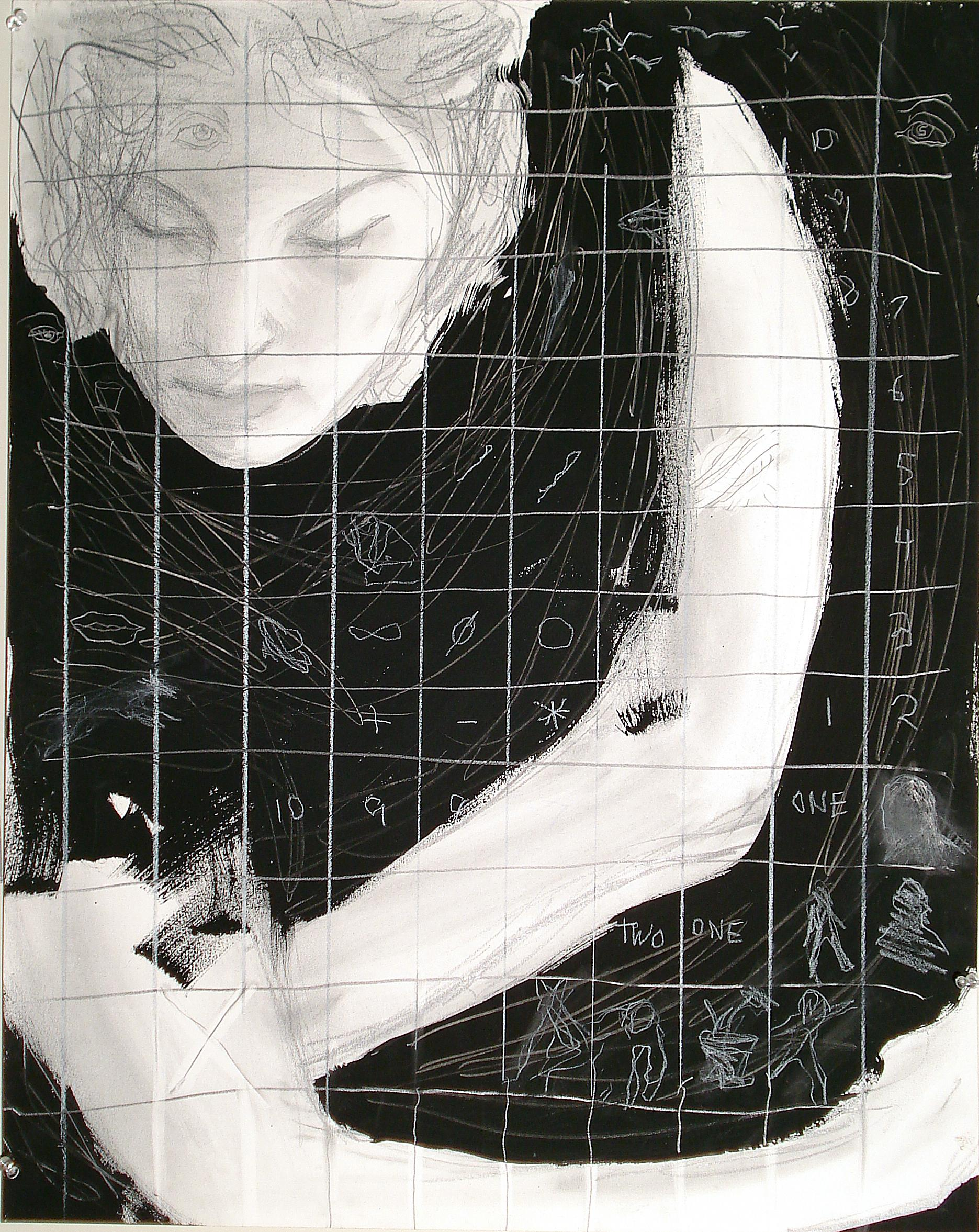 One, Two, mixed media female, mystery, symbols, numbers, black and white,