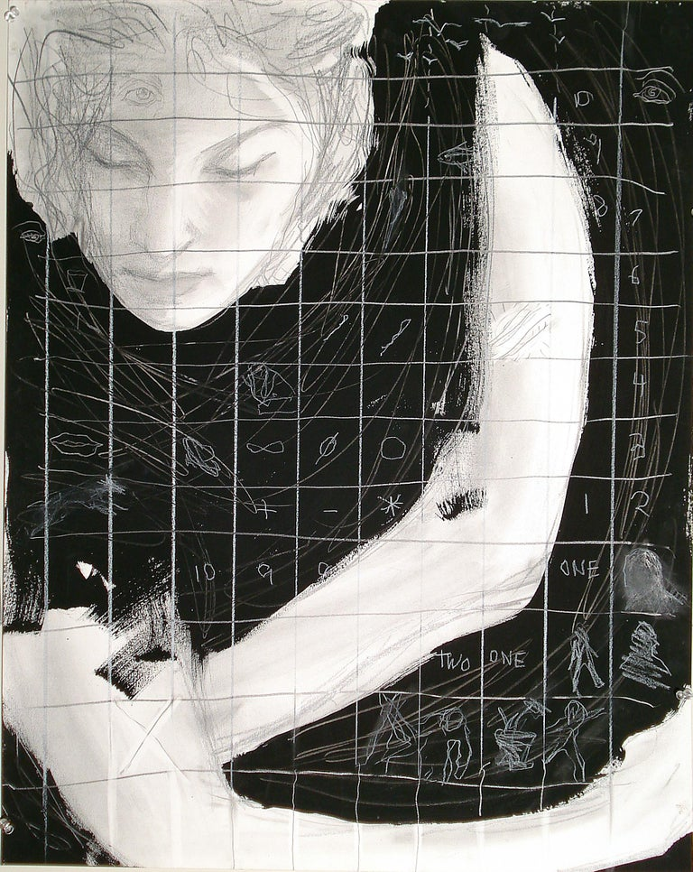 Audrey Frank Anastasi Landscape Art - One, Two, mixed media female, mystery, symbols, numbers, black and white,
