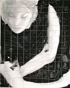 One Two, black and white mixed media, grid pattern,pictographs, figure