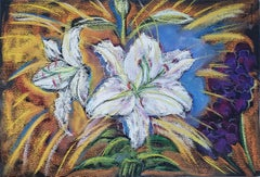 Secret Garden, White Lilies, colorful pastel painting on toned paper