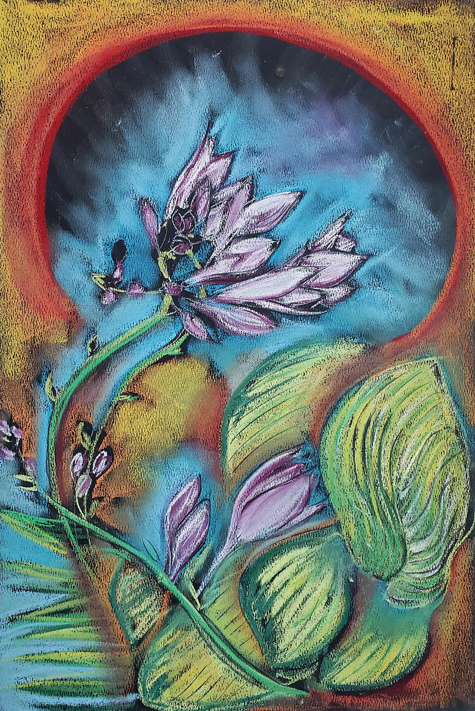 Secret Garden, Portal, colorful pastel on paper, abstracted flower pattern