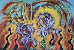 Secret Garden, Iris, colorful abstracted floral pastel on dark paper