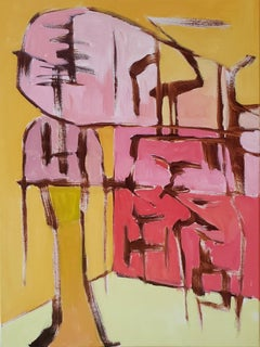 """""""Little Big Man"""" bright color gestural abstract painting w yellow & orange tone"""