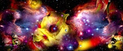 Gardens & Galaxies: Yellow Rose 2019, bright colors abstract sky nature panorama