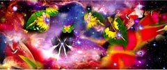 Gardens & Galaxies: HELICONIAS vivid colors, abstract flowers night sky nature