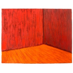 """""""Red Room"""" Contemporary, 21st Century, Figurative/Abstract Oil Painting in Red"""