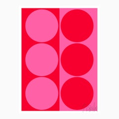 """""""Dynamic Pair: Bright Pink and Red"""" Modern, Mid Century, Contemporary Print"""