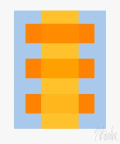 """Yellow Through Orange on Blue"" Modern, Mid Century, Contemporary,  Print"