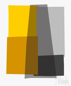 """Yellow and Gray Collage"" Mid Century, Modern, Contemporary, Fine Art Print"