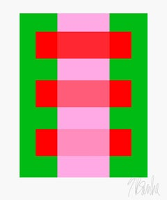 """Pink Thru Red on Green"" Mid Century, Modern, Contemporary, Fine Art Print"