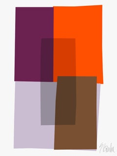 """Purple and Orange Collage"" Modern, Mid Century, Contemporary Fine Art Print"