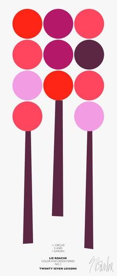 """11 Circles, 3 lines, 1 Garden"", Mid Century, Modern,Contemporary Fine Art Print"