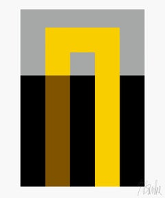 """Inside Out Yellow and Black"" Mid Century, Modern, Contemporary, Fine Art Print"