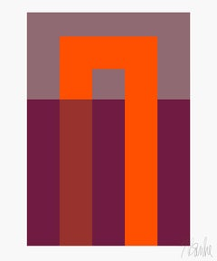 """Inside Out Orange and Plum"" Mid Century, Modern, Contemporary, Fine Art Print"