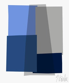 """Blue and Gray Collage"" Mid Century, Modern, Contemporary, Fine Art Print"
