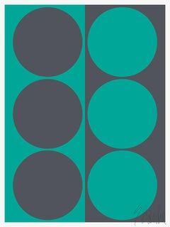 """Dynamic Pair, Teal and Gray""  Modern, Mid Century, Contemporary Fine Art Print"