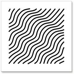 Waves (Black & White), original three dimensional geometric design wall relief
