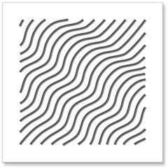Waves (Gray), original three dimensional geometric design wall relief