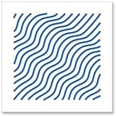Waves (Blue), original three dimensional geometric design wall relief