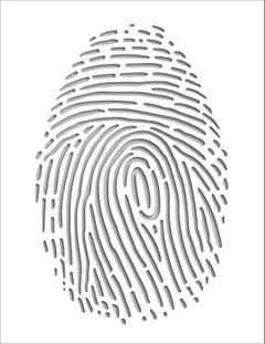 Thumbprint (Gray), original three dimensional geometric design wall relief