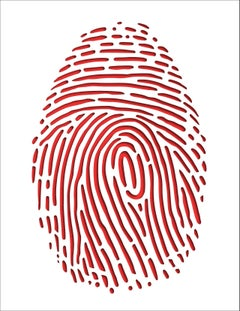 Thumbprint (Red), original three dimensional geometric design wall relief