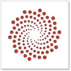 Spirals (Red), original three dimensional geometric design wall relief