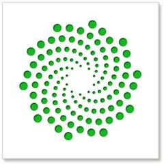 Spirals (Green), original three dimensional geometric design wall relief