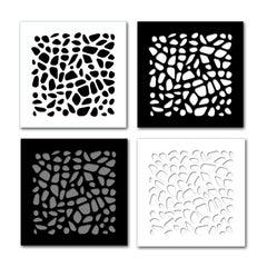 Stones—4 Artworks—original three dimensional geometric design wall reliefs