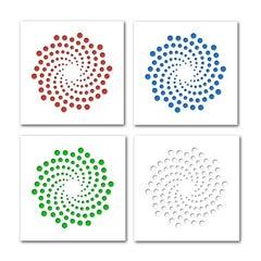 Spirals—4 Artworks—original three dimensional geometric design wall reliefs