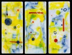 Quiet Composure triptych - kiln formed glass wall panels - Jennifer Baker